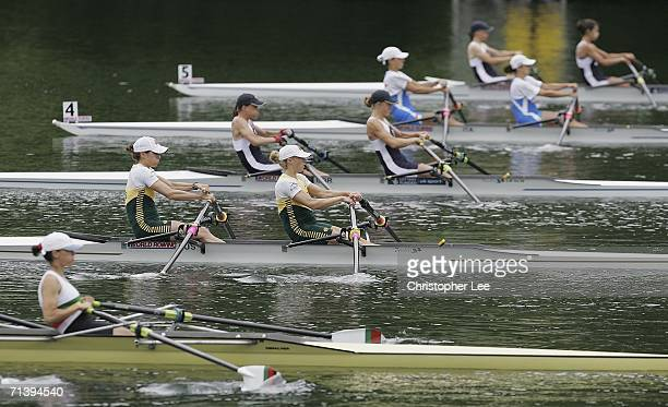 Marguerite Houston and Amber Halliday of Australia in action during the Lightweight Women's Double Sculls heat during the Bearing Point Rowing World...