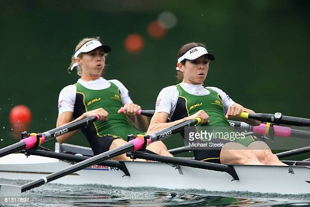 Marguerite Houston and Amber Halliday of Australia in the Lightweight Women's Double ScullsSemifinal A/B 1 race during day two of the FISA Rowing...