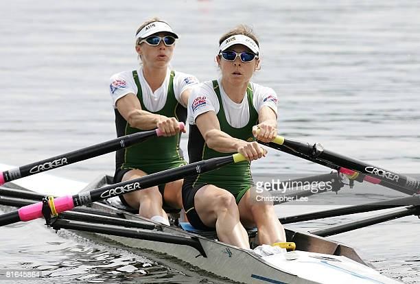 Marguerite Houston and Amber Halliday of Australia in the Lightweight Womens Double Sculls during Day 1 of the FISA Rowing World Cup on Lake Malta on...