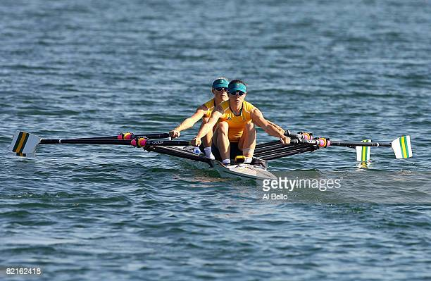 Marguerite Houston and Amber Halliday of Australia practice for the light weight double sculls at the Shunyi Olympic RowingCanoeing Park ahead of the...