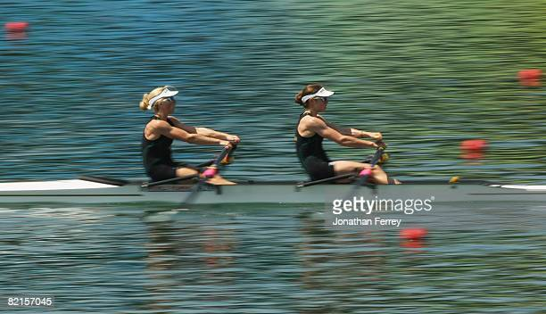 Marguerite Houston and Amber Halliday of Australia women's lightweight double sculls practice at the Shunyi Olympic RowingCanoeing Park ahead of the...