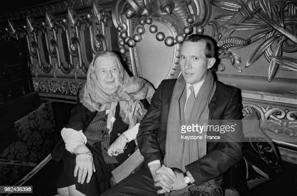 Marguerite Yourcenar lors d'un hommage à la Pologne et pour la défense des libertés dans ce pays à l'opéra Garnier à Paris en France, le 23 décembre...