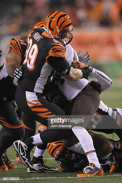 Margus Hunt of the Cincinnati Bengals rushes the quarterback during the game against the Cleveland Browns at Paul Brown Stadium on November 6, 2014...