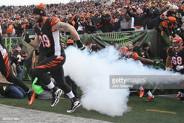 Margus Hunt of the Cincinnati Bengals takes the field for the game against the Baltimore Ravens at Paul Brown Stadium on January 3, 2016 in...