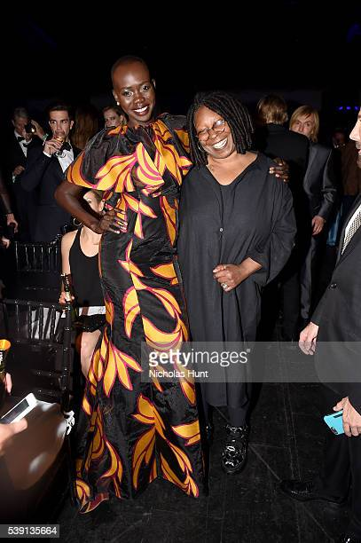 Mari Agory and Whoopi Goldberg attend the 7th Annual amfAR Inspiration Gala at Skylight at Moynihan Station on June 9 2016 in New York City