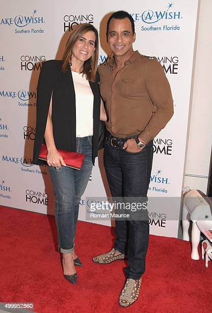 Mari and Jon Secada attend Coming Home and MakeAWish Southern Florida Celebrate Miami Art Design Week at Coming Home Gallery on December 3 2015 in...