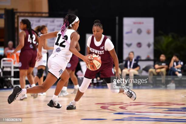 Mari Bickley of US Midwest Girls plays defense against US MidAtlantic Girls during Pool Play of the Jr NBA Global Championship on August 6 2019 at...