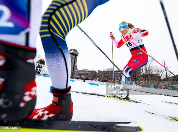Mari Eide of Norway competes in the sprint quarterfinal heat during the FIS Cross Country Ski World Cup Final on March 22 2019 in Quebec City Quebec...