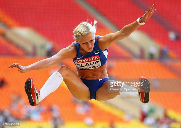 Mari Klaup of Estonia competes in the Women's Heptathlon Long Jump during Day Four of the 14th IAAF World Athletics Championships Moscow 2013 at...