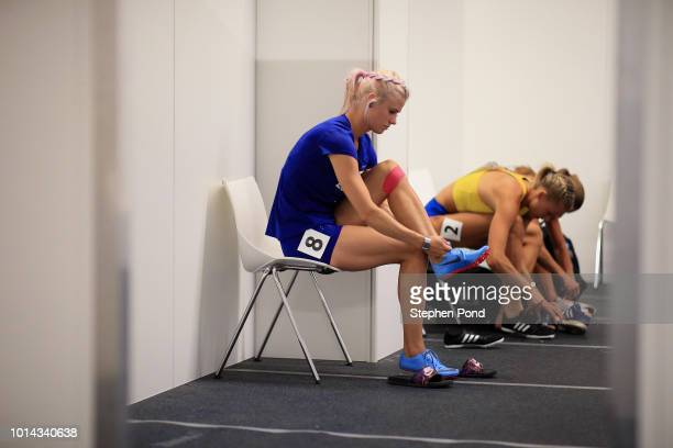 Mari KlaupMcColl of Estonia prepares in the call room before competing in the Women's Heptathlon 200m during day three of the 24th European Athletics...