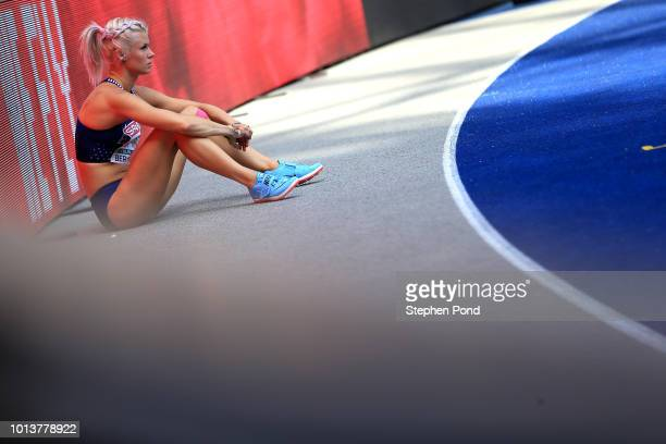 Mari KlaupMcColl of Estonia prepares to jump in the Women's Heptathlon High Jump during day three of the 24th European Athletics Championships at...