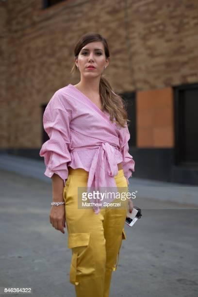 Mari Lola Roldan is seen attending NaeeM Khan and Chiara Boni La petite Rose during New York Fashion Week wearing Anna Sui on September 12 2017 in...
