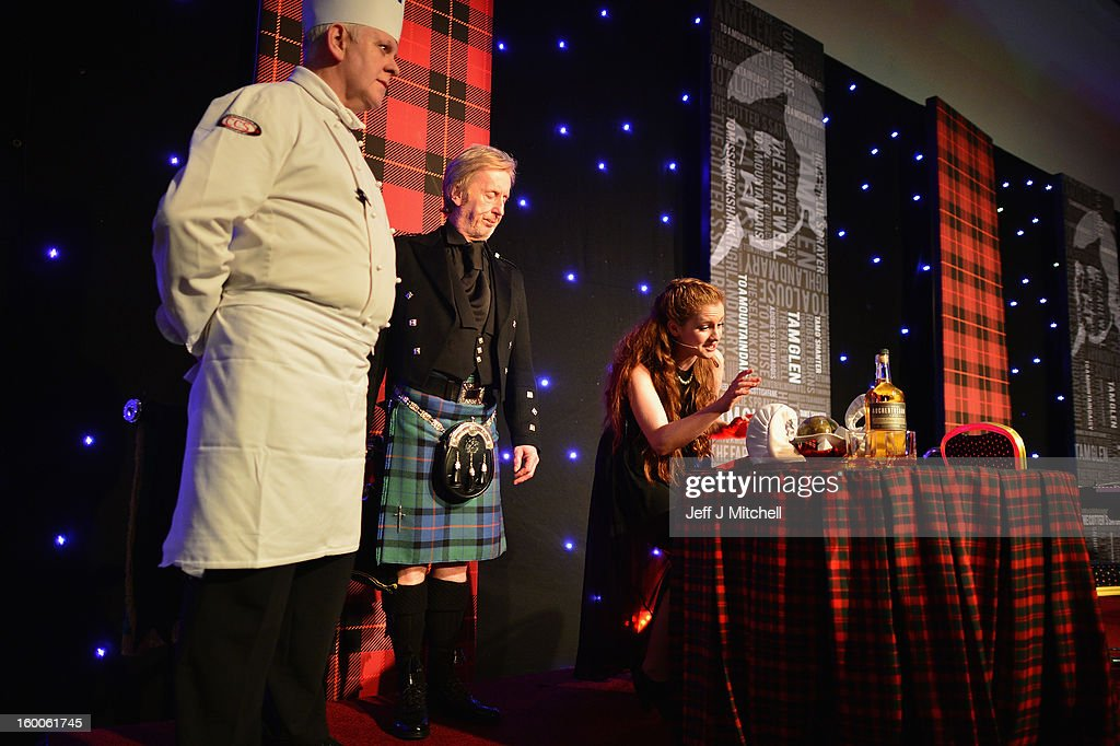 Mari McGinlay, student from the Musical Theatre Course, The Dance School of Scotland, addresses the Haggis at the Lord Provost Burns Supper, in the Thistle Hotel on on January 25, 2012 in Glasgow, Scotland. Burns suppers will be held today to commemorate the life of the poet Robert Burns, who was born on this day in 1759.