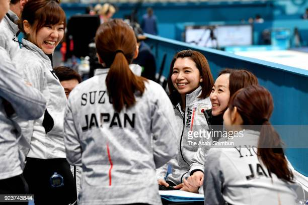 Mari Motohashi of Japan speaks to her team mates prior to the Curling Womens' bronze Medal match between Great Britain and Japan on day fifteen of...