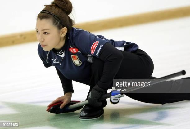 Mari Motohashi of Team Aomori looks on during women's curling Vancouver Olympic qualifying at Aomori City Sports Hall on November 7 2009 in Aomori...