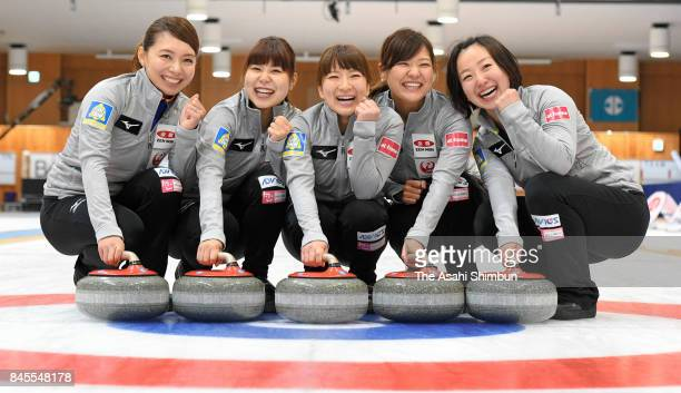 Mari Motohashi, Yurika Yoshida, Yuumi Suzuki, Chinami Yoshida and Satsuki Fujisawa of LS Kitami pose for photographs after Game four of the Japan...