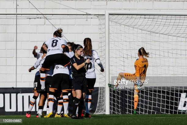 Mari Paz Vilas celebrates a goal during the Spanish League Primera Iberdrola women football match played between Valencia CF Femenino and Real Betis...