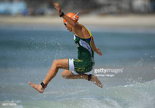 Mari Rabie of South Africa warms up prior to the Women's Triathalon on Day 15 of the Rio 2016 Olympic Games at Fort Copacabana on August 20 2016 in...