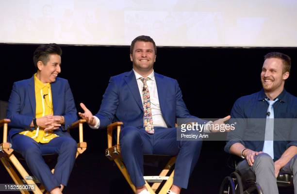 Mari Rivera Nate Houghteling and Carson Tueller speak onstage at YouTube Originals State Of Pride Los Angeles Premiere at The Ricardo Montalban...
