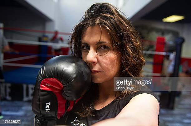 Mari Sol Alcala a free lance television producer poses at the Gabriel Campillo boxing gym gym on June 27 2013 in Madrid Spain Spanish women are...