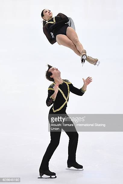 Mari Vartmann and Ruben Blommaert of Germany compete in the Pairs short program during the ISU Grand Prix of Figure Skating NHK Trophy on November 25...