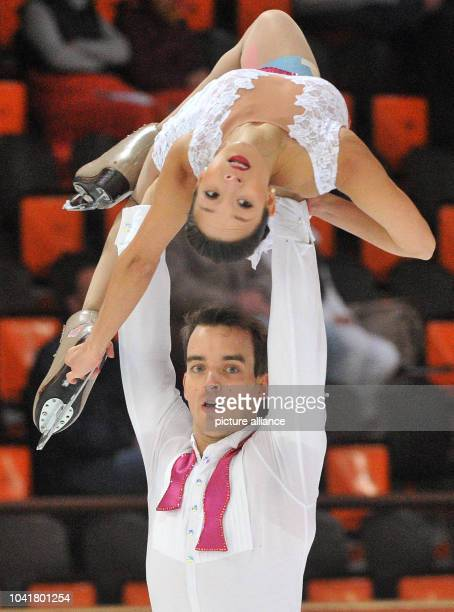 Mari Vartmann and Ruben Blommaert of Germany in action at the Nebelhorn Trophy figure skating competition in Oberstdorf Germany 25 September 2015...