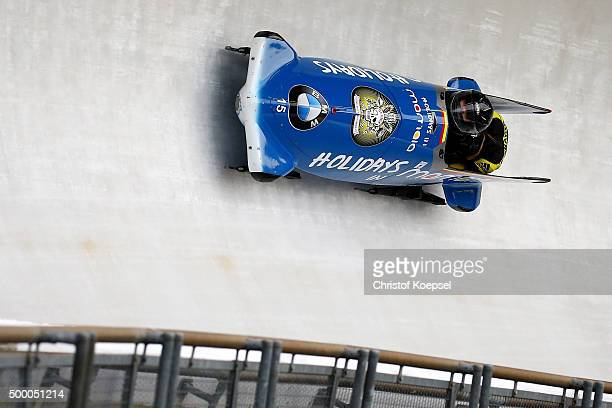 Maria Adela Constantin and Erika Anett Halay of Roumania compete in their first run of the two women's bob competition during the BMW IBSF Bob &...