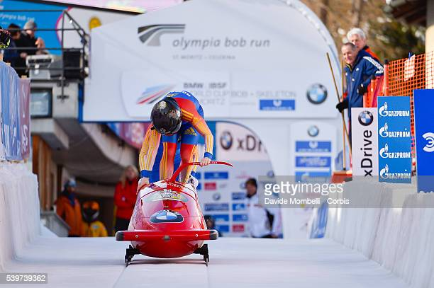 Maria Adela Grecu Andreea in action during the start BMW IBSF World Cup Bob 2 women 2015/2016 St Moritz Swiss