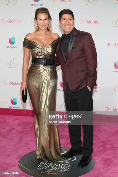 Maria Albero and soccer player Ivan Zamorano attend Univision's 29th Edition of Premio Lo Nuestro A La Musica Latina at the American Airlines Arena...