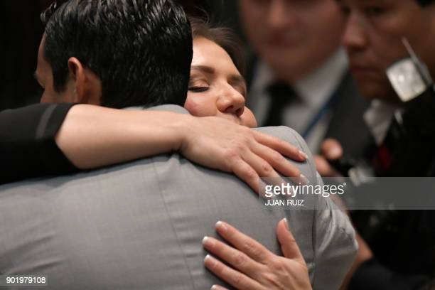 Maria Alejandra Vicuna greets a collegue at the National Assembly plenary after being appointed as new Ecuadorean VicePresident in Quito on January 6...