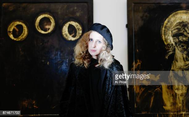 Maria Alyokhina of Pussy Riot protest performance and exhibition preview at the Saatchi Gallery on November 15 2017 in London England