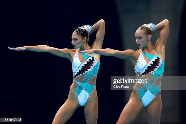 Maria Alzigkouzi Kominea and Evangelia Papazoglou of Team Greece compete in the Artistic Swimming Duet Free Routine Preliminary on day ten of the...