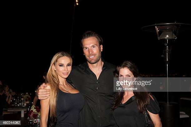 Maria and Bastian Yotta and Kira Reed Lorsch attend Victorino Noval birthday celebration at The Vineyard Beverly Hills on October 10 2015 in Beverly...