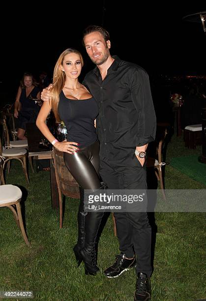 Maria and Bastian Yotta attend Victorino Noval birthday celebration at The Vineyard Beverly Hills on October 10 2015 in Beverly Hills California