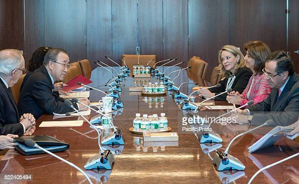 Maria Angela Holguin Cuellar sits opposit the SecretaryGeneral at the conference table United Nations Secretarygeneral Ban Kimoon greeted Colombian...