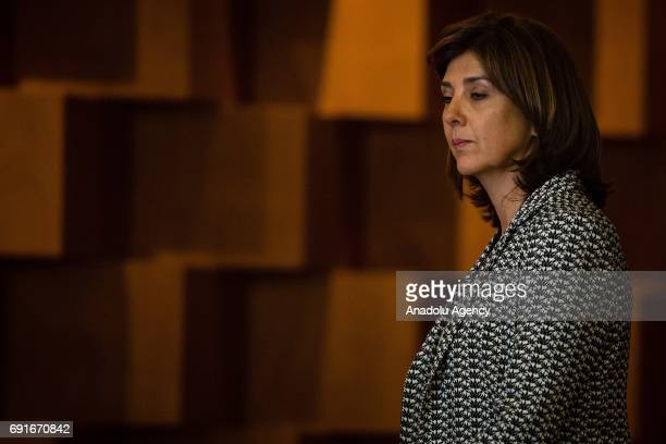 Maria Angela Holguin Foreign Affairs Minister of Colombia attends the message to the media of the XVII Meeting of the Council of Ministers of the...