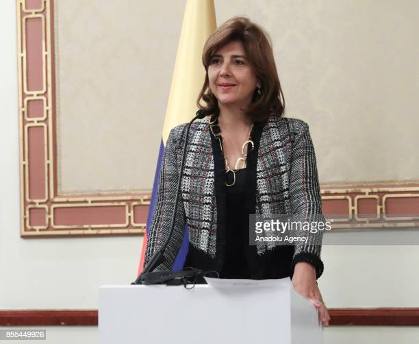 Maria Angela Holguin Foreign Affairs Minister of Colombia is seen during joint press conference with Turkish Foreign Minister Mevlut Cavusoglu at...