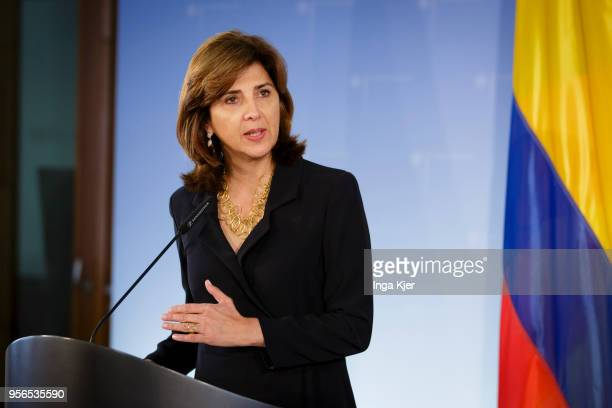 Maria Angela Holguin Foreign Minister of Columbia speaks to the press on May 09 2018 in Berlin Germany