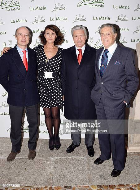 Maria Angeles Grajal Juan Antonio Ruiz 'Espartaco' and Jaime Ostos attend 'La Maja de Goya' Bullfighting Awards 2016 at La Masia de Jose Luis...