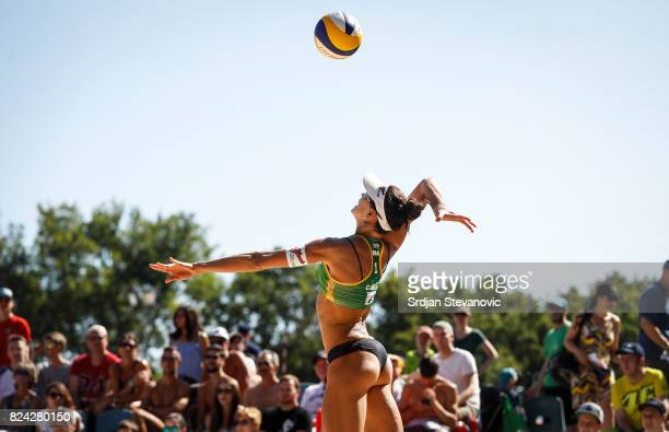 Maria Antoneli of Brazil serves the ball during the Women's Pool I Main draw match between Brazil and Canada on July 29 2017 in Vienna Austria