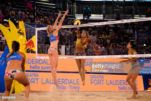 Maria Antonelli of Brazil team in the attack against USA to get a point The Volleyball Major Series 2018 Florida was hosted in Fort Lauderdale USA...