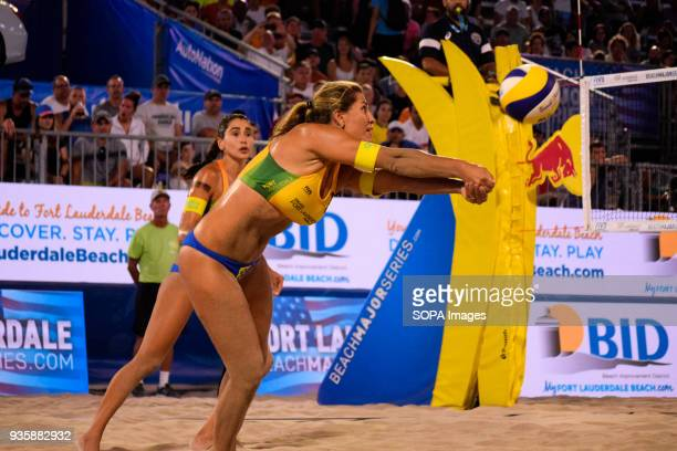 Maria Antonelli of Brazil with the volley to place the ball to his partner in the counter attack The Volleyball Major Series 2018 Florida was hosted...