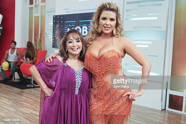 Maria Antonieta de las Nieves and Alicia Machado backstage during Univisions Mira Quien Baila on October 6 2012 in Miami Florida