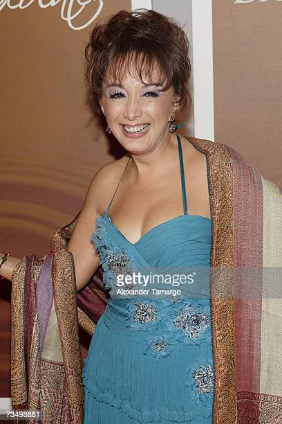 Maria Antonieta de las Nieves poses on the red carpet before the premiere of the Telemundo soap opera ''Dame Chocolate'' on March 5 2007 in Miami...