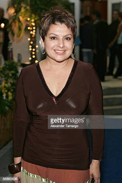 Maria Antonietta Collins poses at Bongos Cuban Cafe for the House King magazine premier party on October 5 2005 in Miami Florida