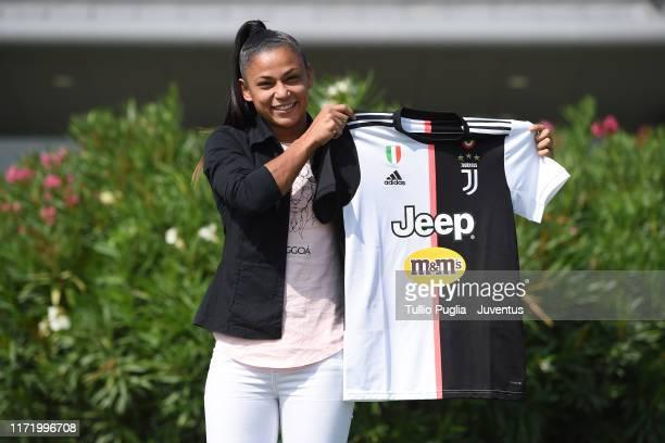 Maria Aparecida Alves Souza, new player of Juventus Women, poses holding her new club shirt at Juventus Training Center Vinovo on September 03, 2019...