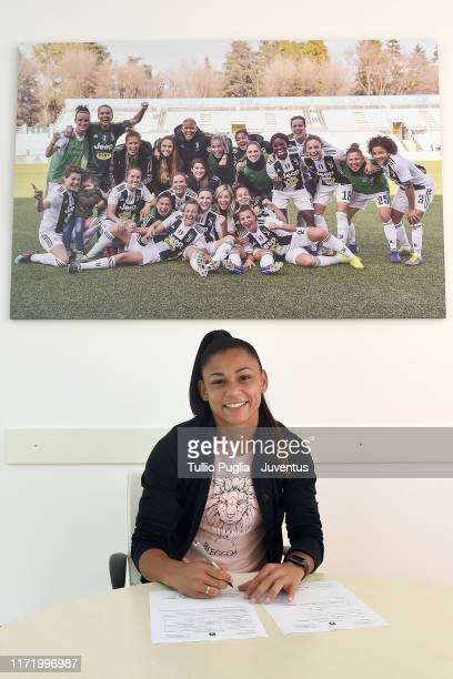 Maria Aparecida Alves Souza, new player of Juventus Women smiles during contract signing at Juventus Training Center Vinovo on September 03, 2019 in...