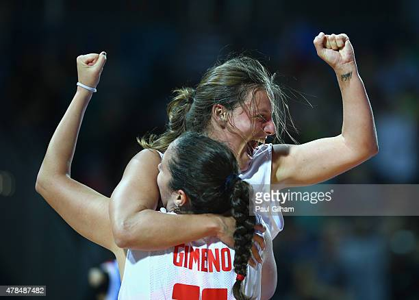 Maria Aranzazu Goez Novo of Spain celebrates with her teammate Vega Gimeno Martinez after Spain won the Women's 3 x 3 Basketball Quarterfinal between...
