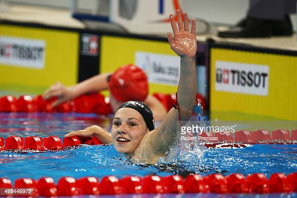 Maria Astashkina of Russia celebrates winning gold in the Women's 200m Breaststroke final during day thirteen of the Baku 2015 European Games at the...