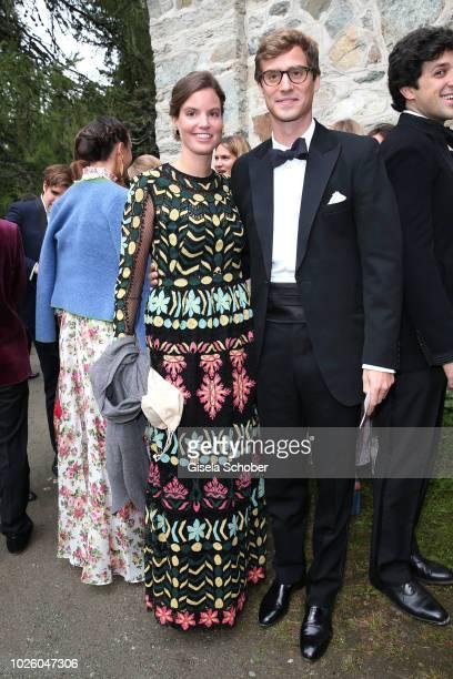 Maria Astrid Princess of Liechtenstein and her brother Prince JosefEmmanuel von und zu Liechtenstein during the wedding of Prince Konstantin of...